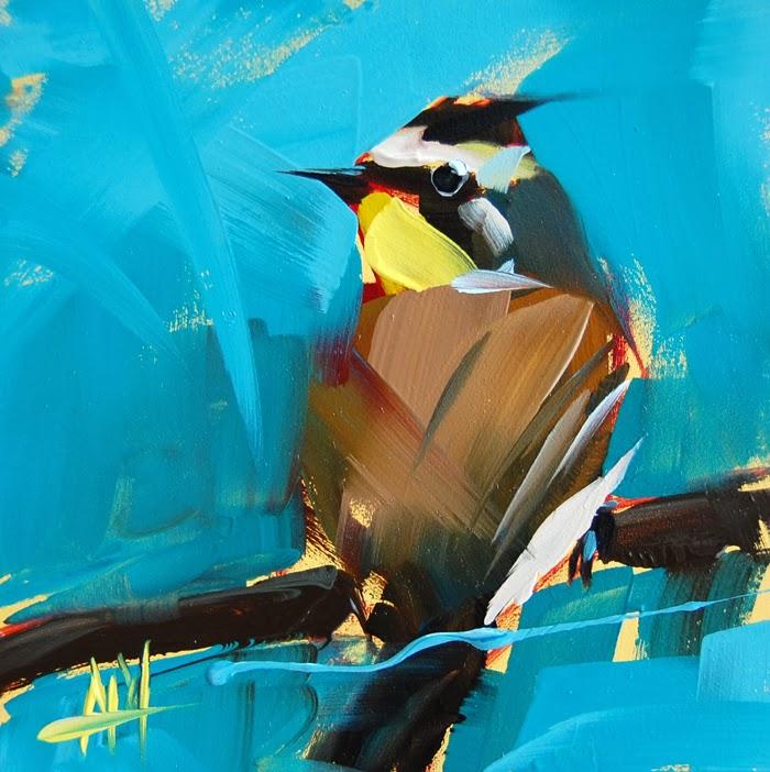 Horned lark painting